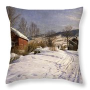 A Winter Landscape Lillehammer Throw Pillow by Peder Monsted
