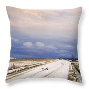 A Winter Landscape With A Horse And Cart Throw Pillow