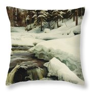 A Winter Landscape With A Mountain Torrent Throw Pillow
