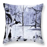 A Winter Reunion Throw Pillow