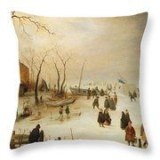 A Winter River Landscape With Figures On The Ice Throw Pillow