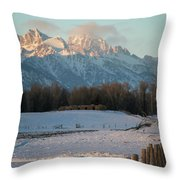A Winter Scene Of A Snowy Field, Fence Throw Pillow