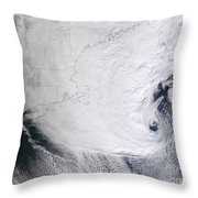 A Winter Storm Over Eastern New England Throw Pillow by Stocktrek Images
