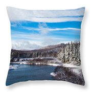 A Winter Wonderland On The Moose River Throw Pillow