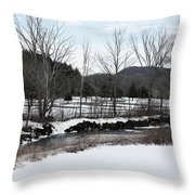 A Wintery Day In Vermont Throw Pillow