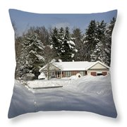 A Wintery Look Up A Driveway On Conifer Drive Throw Pillow