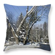 A Wintery View Along Charlton Road Throw Pillow