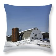 A Wintery View Of A Farm Along Route 7 In Duanesburg Throw Pillow