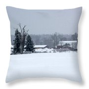 A Wintery View Of A Farm Along Van Horst Road Throw Pillow
