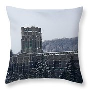 A Wintery View Of The Cadet Chapel At The United States Military Academy Throw Pillow