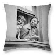 A Woman And Her Dog Throw Pillow