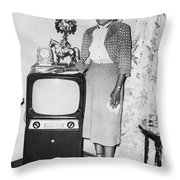 A Woman And Her Tv Throw Pillow