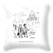 A Woman And Man Speak As They Walk Throw Pillow