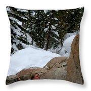 A Woman At A Natural Hot Springs Throw Pillow