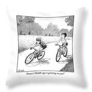 A Woman Casually Riding A Bicycle Addresses A Man Throw Pillow
