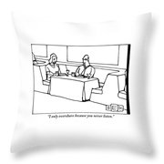 A Woman Chastising A Man At A Dinner Table Throw Pillow