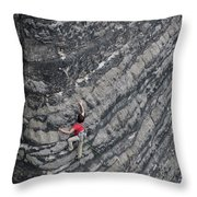 A Woman Climbs Above Her Protection Throw Pillow
