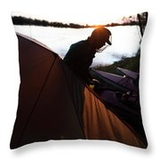 A Woman Exits The Tent At Sunset Throw Pillow