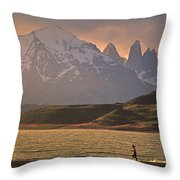 A Woman Explorer, Runs The Shores Throw Pillow