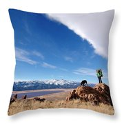 A Woman Hiking With Her Dog Throw Pillow