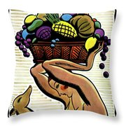 A Woman Holding A Basket Of Fruit Throw Pillow