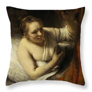A Woman In Bed Throw Pillow
