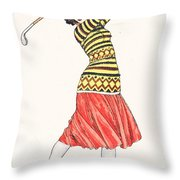 A Woman In Full Swing Playing Golf Throw Pillow