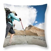 A Woman Is Crossing A River, Spiti Throw Pillow