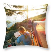 A Woman Is Resting In A Tent On One Throw Pillow