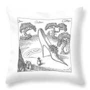 A Woman Is Seen Speaking To Her Neighbors Throw Pillow