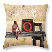 A Woman Is Sitting By A Lake, Mount Throw Pillow