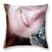 A Woman Lovingly Looking At Her Cat Throw Pillow