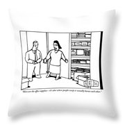 A Woman Opens The Door To A Supply Closet Throw Pillow