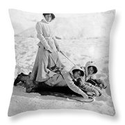 A Woman Rides On Two Friends Throw Pillow