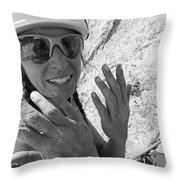 A Woman Rock Climber In Titcomb Basin Throw Pillow