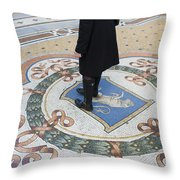A Woman Rubs Her Heel For Good Luck On The Crest Of The Bull In Galleria Vittorio Emanuele II  Throw Pillow