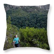 A Woman Running On One Of The Many Throw Pillow