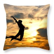 A Woman Showing Her Happiness Throw Pillow by Michal Bednarek