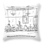 A Woman Sits In A Coffee Lounge With A Man Throw Pillow