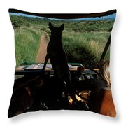 A Woman Sits In Her Safari Jeep Throw Pillow