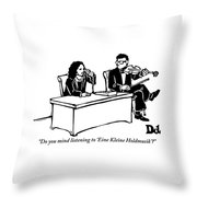 A Woman Sitting At A Desk And Speaking Throw Pillow