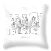 A Woman Speaks To A Man At A Cocktail Party Throw Pillow