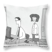 A Woman Speaks To A Man Who Is Working Throw Pillow