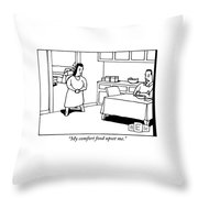 A Woman Speaks To Her Husband In A Kitchen Throw Pillow