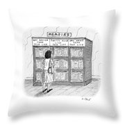 A Woman Stands In Front Of A Bookshelf Of Memoirs Throw Pillow