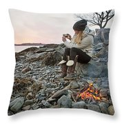 A Woman Takes A Cell Phone Picture Throw Pillow