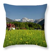 A Woman Walks Through An Alpine Meadow Throw Pillow
