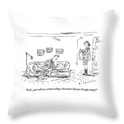 A Woman With Groceries Stands In The Doorway Throw Pillow