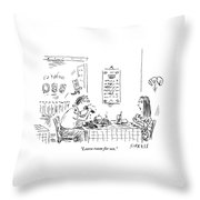 A Woman With Her Arms Crossed Addresses Throw Pillow