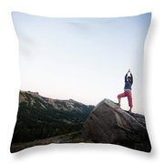 A Women Relaxes And Enjoys The Outdoors Throw Pillow